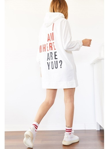 XHAN Kırmızı Sırt Baskılı Oversize Sweatshirt Elbise 0Yxk8-43980-04 Kırmızı